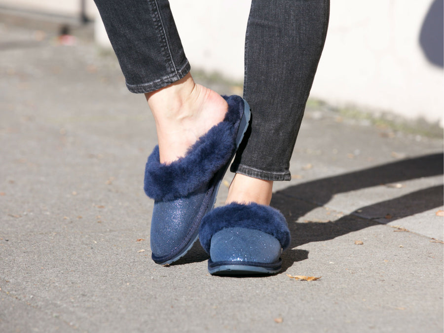 Emu Jolie Metallic Slip-On Slipper in Midnight Blue