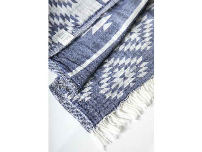 The Handloom Tribe Large Throw Turkish Towel in Navy