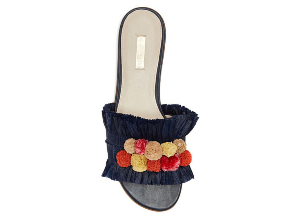 Louise et Cie Arthya Raffia Pompom Slide in Bluemoon/Orange