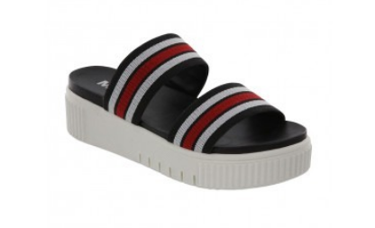 Mia Lillie Sandal - Black/White/Red Stripe