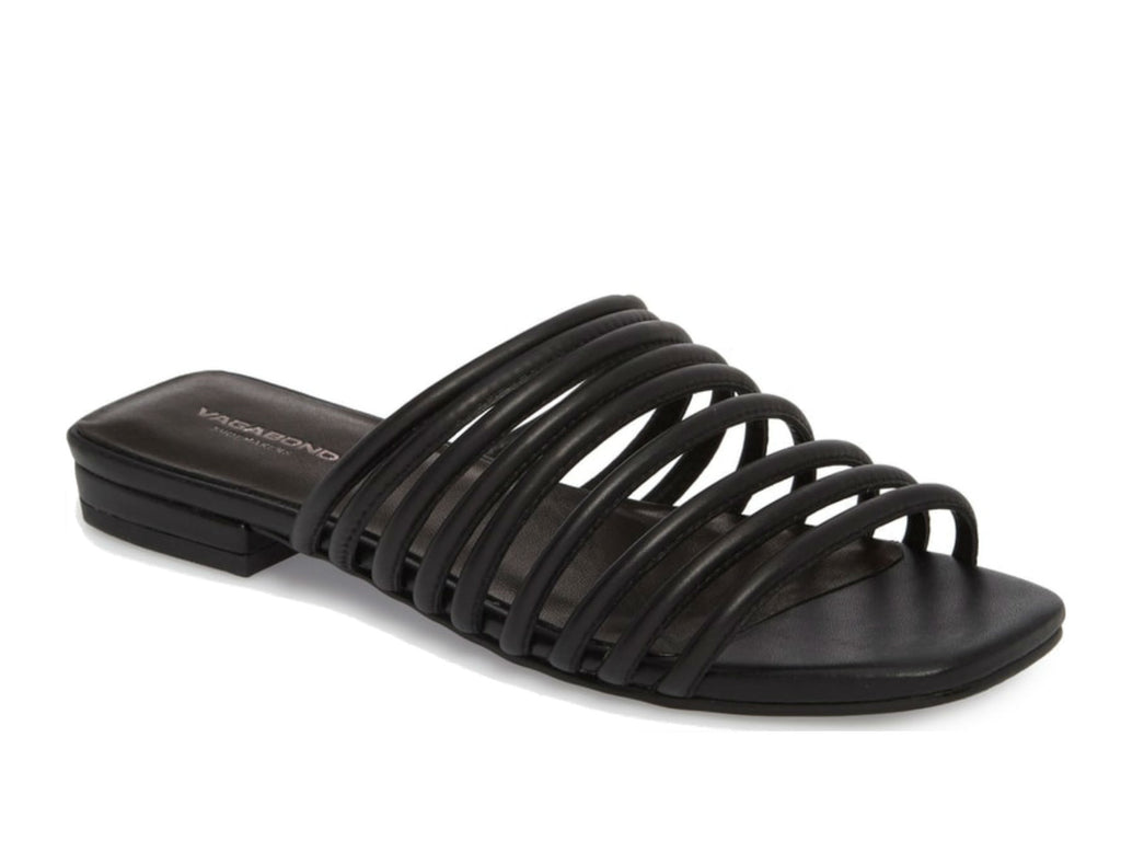 Vagabond Becky Leather Slide Sandals in Black