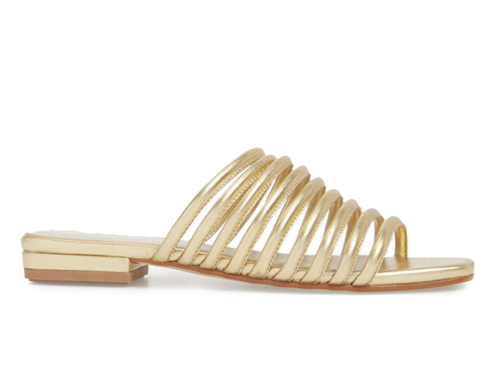 Vagabond Becky Leather Slide Sandal in Gold