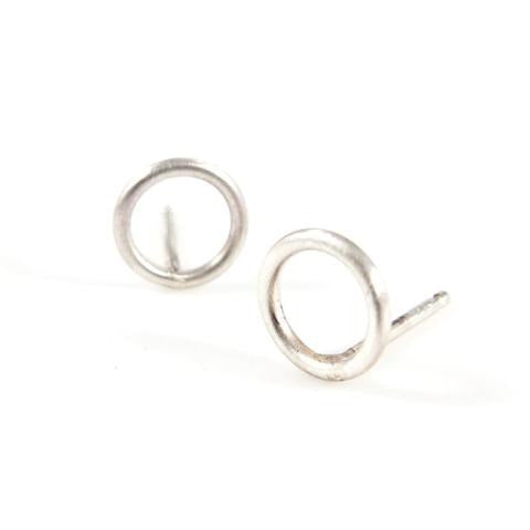 Baleen Small Open Circle Studs - Silver