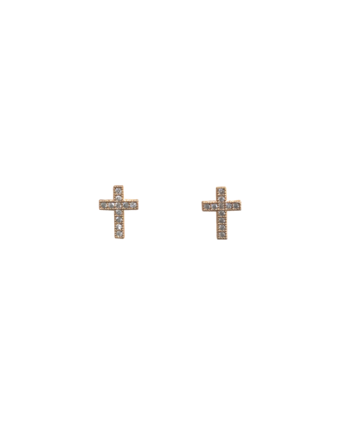 MARRIN COSTELLO CROSS STUDS — GOLD