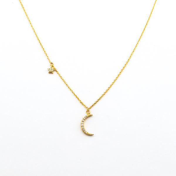 CRESCENT MOON AND STAR NECKLACE GOLD