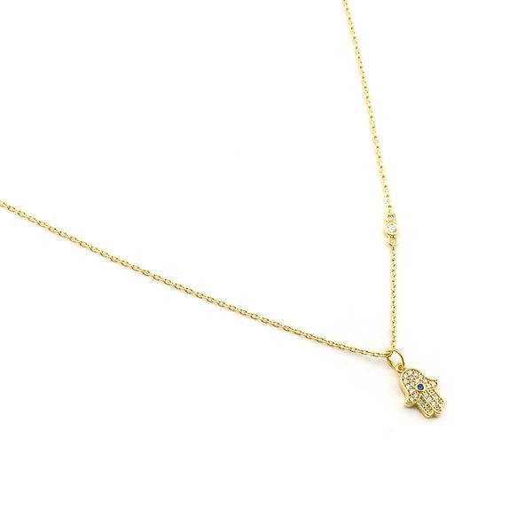 CZ HAMSA PENDANT NECKLACE GOLD