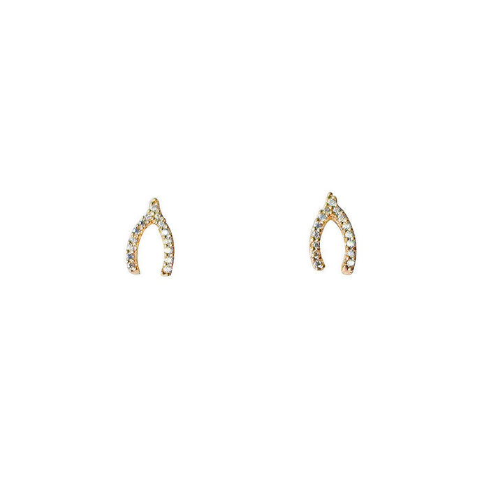 TAI PAVE MINI WISHBONE EARRINGS GOLD