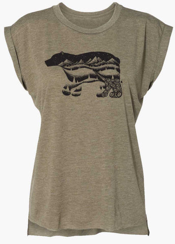 Bear Flowy T-Shirt With Rolled Cuffs | Black & Olive