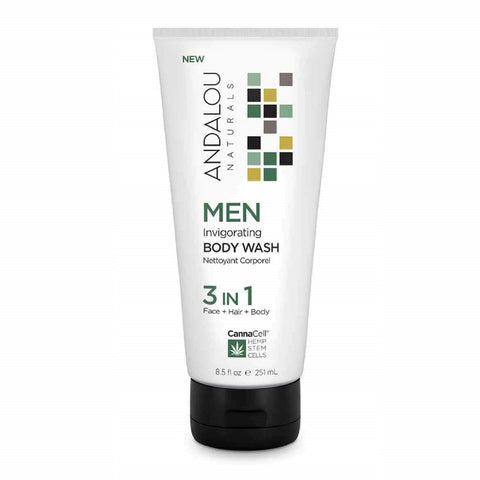 Andalou Naturals - Men's Invigorating Body Wash 3 in 1 Vegan Skin Care All Things Being Eco