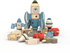 BeginAgain - Tinker Totter Rockets Construction & Character Play Set Natural Wood Toys All Things Being Eco