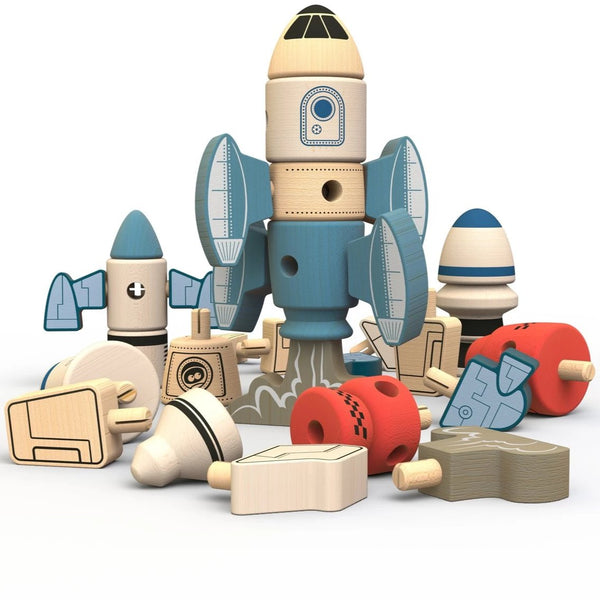 BeginAgain - Tinker Totter Rockets Construction & Character Play Set Natural Toys All Things Being Eco