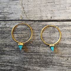 Kala Collection - Triangle Stone Hoop Earrings
