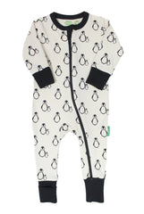 Parade Organics - Organic 2-Way Zipper Romper Penguins Natural Baby Sleepwear All Things Being Eco