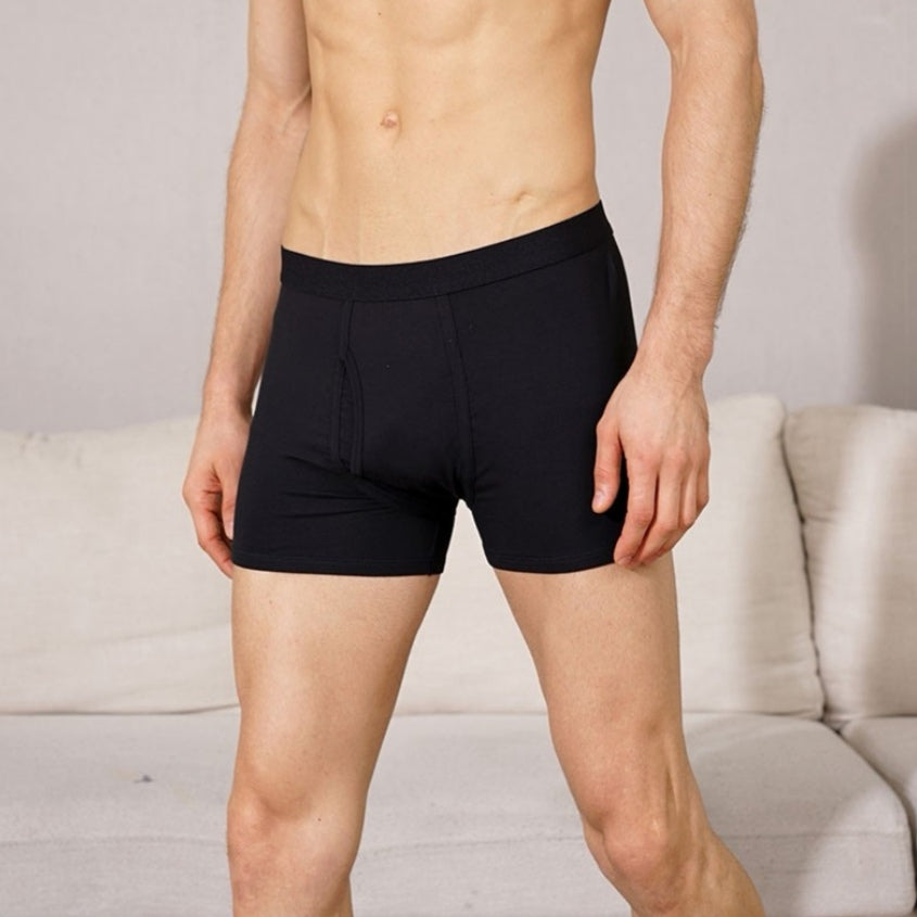 Orange - Men's Bamboo Boxer Briefs With Fly Opening