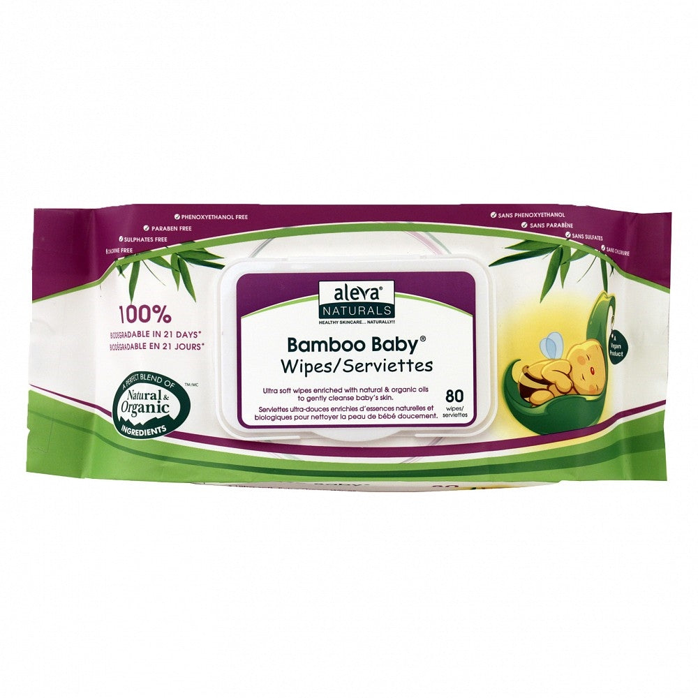 Aleva Naturals - Biodegradable Bamboo Baby Wipes 80 PK Natural Baby Products All Things Being Eco