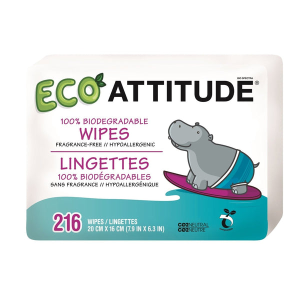 Attitude - Biodegradable Baby Wipes 216-PK All Things Being Eco