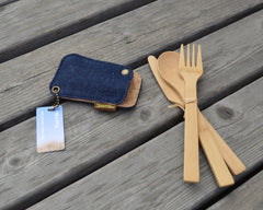 Bambu - Bamboo Travel Utensil Set in Kemp Denim Case