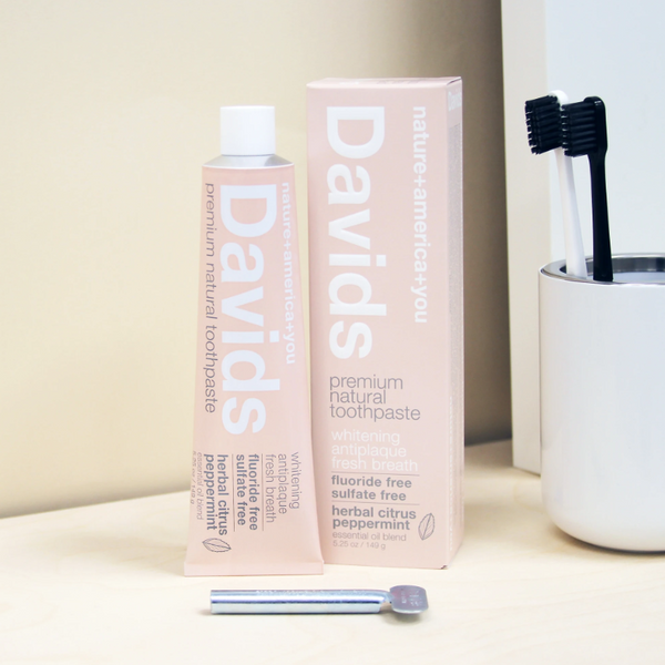 Davids - Premium Herbal Citrus Peppermint Natural Toothpaste All Things Being Eco Chillwiack Vegan Cruelty Free Dental Care