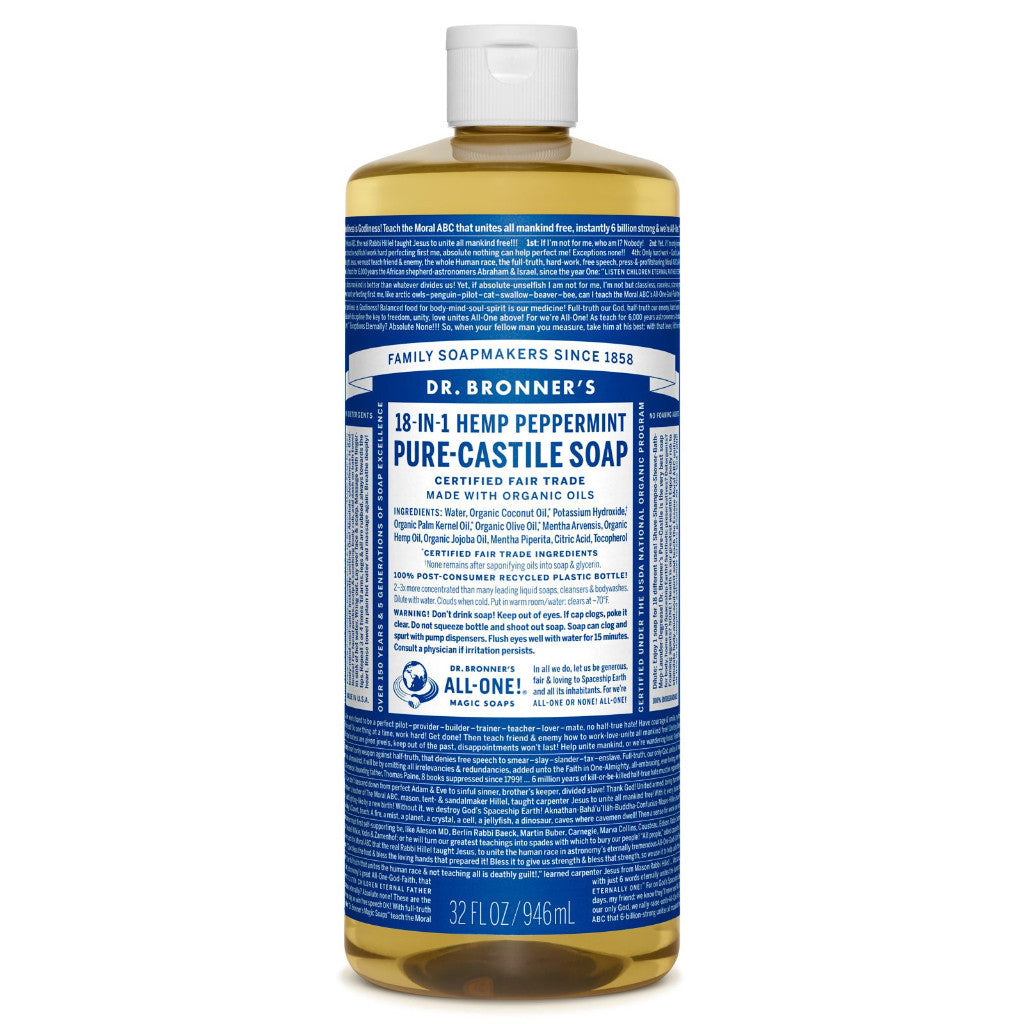 Dr.Bronner's - 18-in-1 Peppermint Liquid Castile Soap 32oz