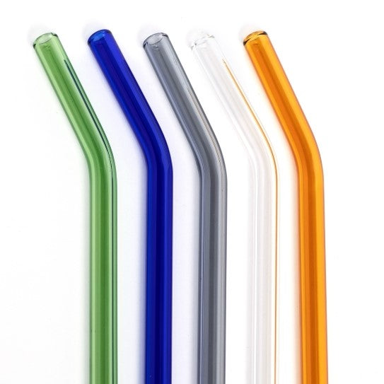 Life Without Waste - Bent Coloured Glass Drinking Straws