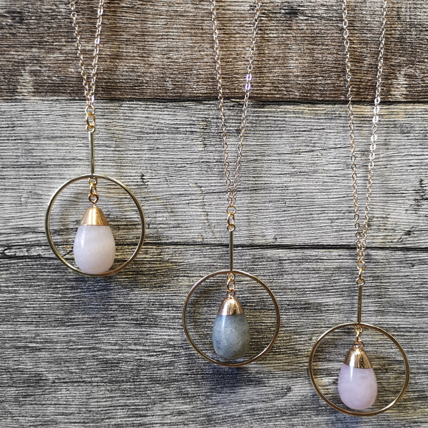 Frug Jewellery - HOOP Drop Semi-Precious Stone Necklace