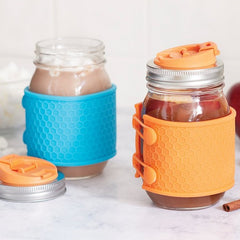Jarware - Mason Jar Silicone Honeycomb Protector Sleeves All Things Being Eco Chilliwack