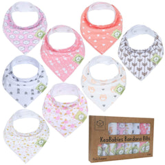KeaBabies - Organic Cotton Bandana Bib Set Pink Dreams Natural Baby Accessories