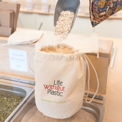 Life Without Plastic - Organic Cotton Flat-Bottom Bulk Bag - Medium All Things Being Eco Chilliwack Zero Waste Refillery Since 2008