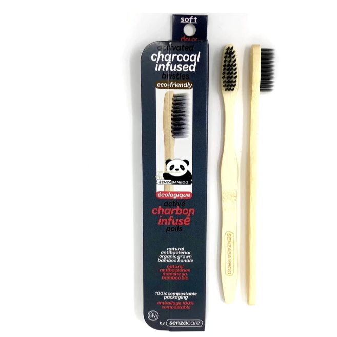 SenzaBamboo - Charcoal Infused Adult Soft Bamboo Toothbrush All Things Being Eco Chilliwack