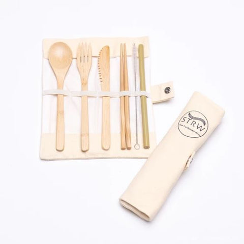 STRW - Portable Reusable Bamboo Cutlery Set All Things Being Eco CHilliwack