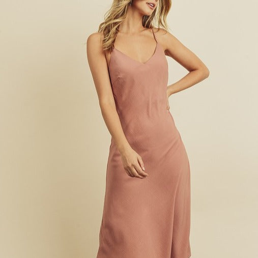 Midi Slip Dress | Rose