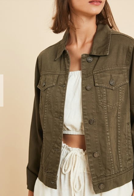 Button Front Jacket | Olive