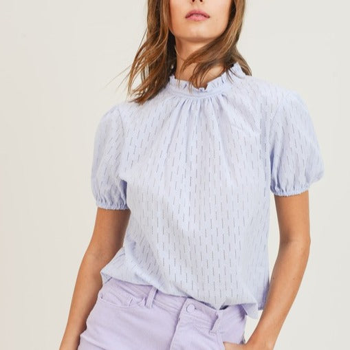 Eyelet-Blouse-Summer-Style-Tie-Back-Mock-Neck