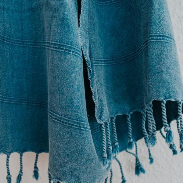 Close up of Bon Ton Studio Aggie Turkish Towel in Denim color