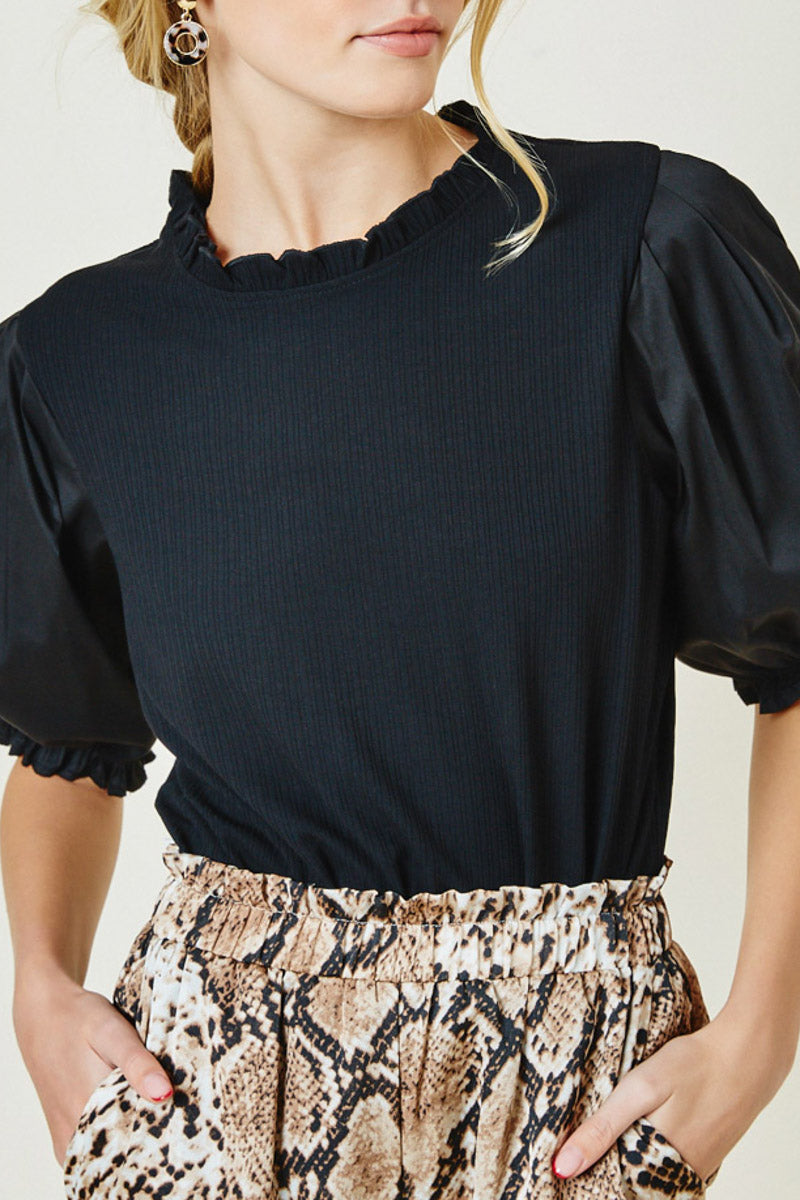 Black-Puff-Sleeve-Blouse-Style-Tucked-In