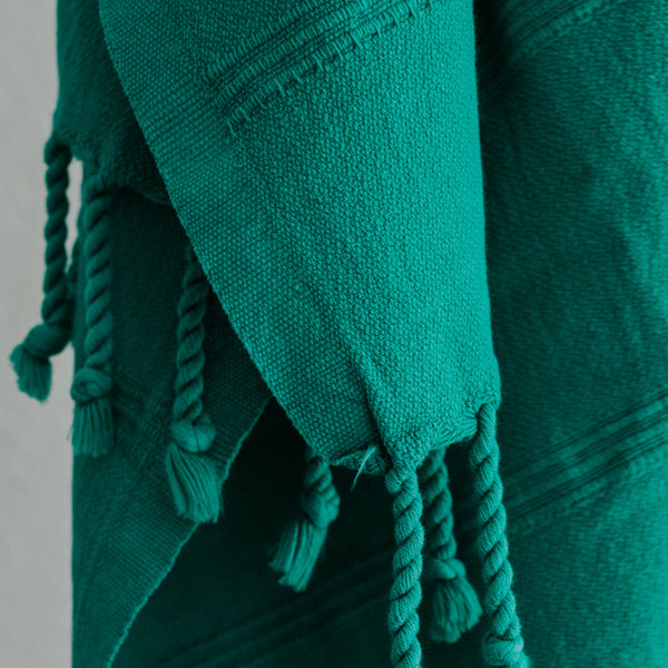 Close up of Bon Ton Studio Aggie Turkish Towel in Jade color