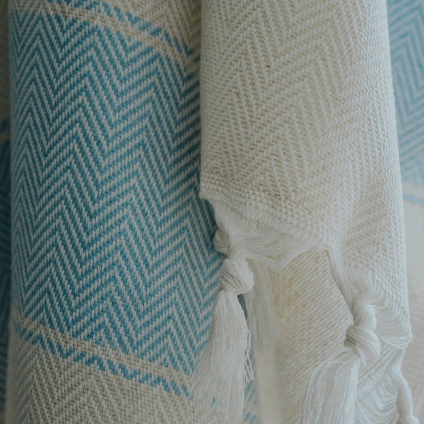 Close up of Bon Ton Studio Bodie Turkish Towel in Powder Blue color