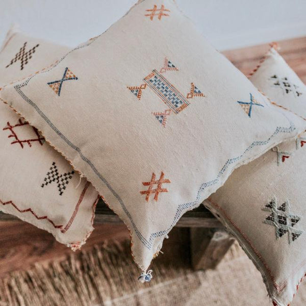 Sabra Pillows are perfect for adding a refined boho vibe to any space.  Choose from soft, subtle neutrals, bright, vibrant colors or mix and match a few for an eclectic feel.