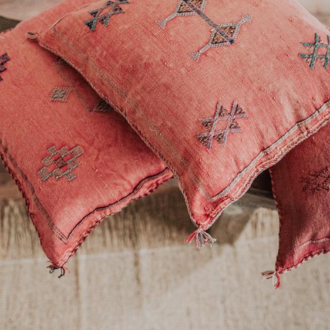 Moroccan Sabra Pillows are perfect for adding a refined boho vibe to any space.  Choose from soft, subtle neutrals, bright, vibrant colors or mix and match a few for an eclectic feel.