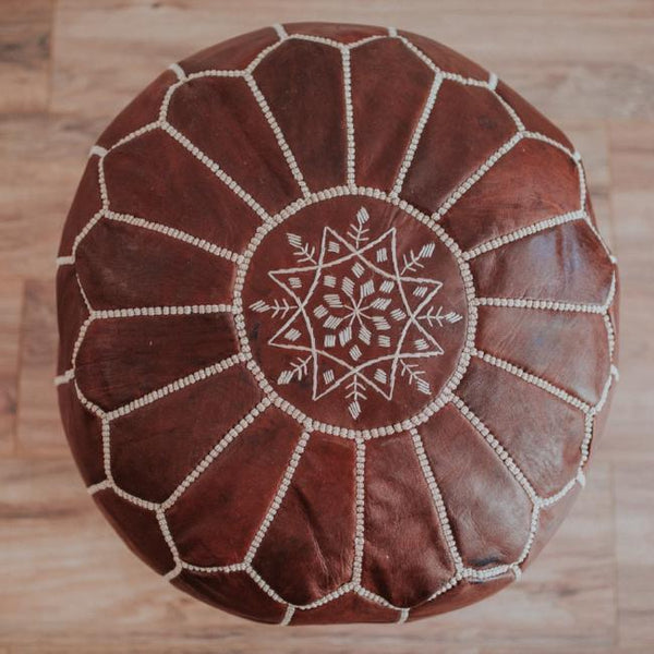 Moroccan leather poufs are functional yet decorative pieces and provide a cozy, global feel when added to any space.