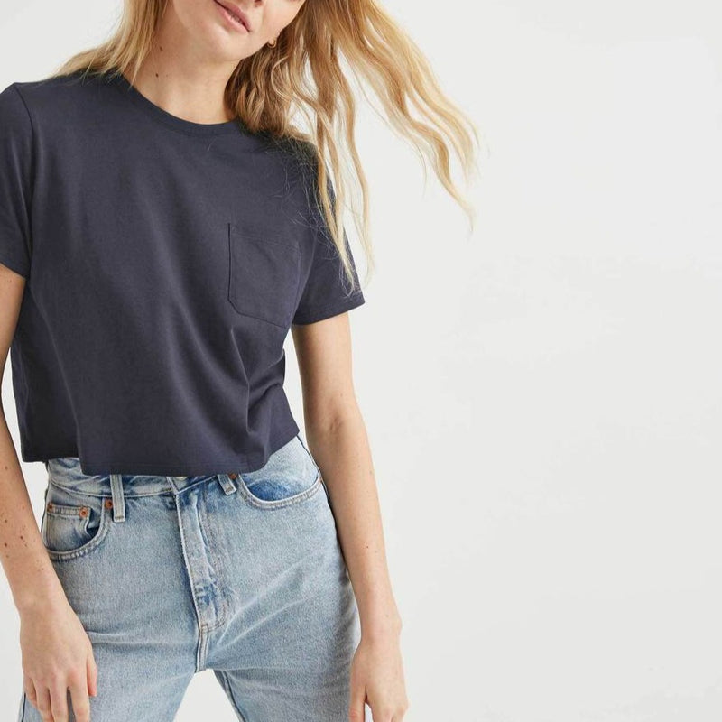 Women wearing crop boxy tee