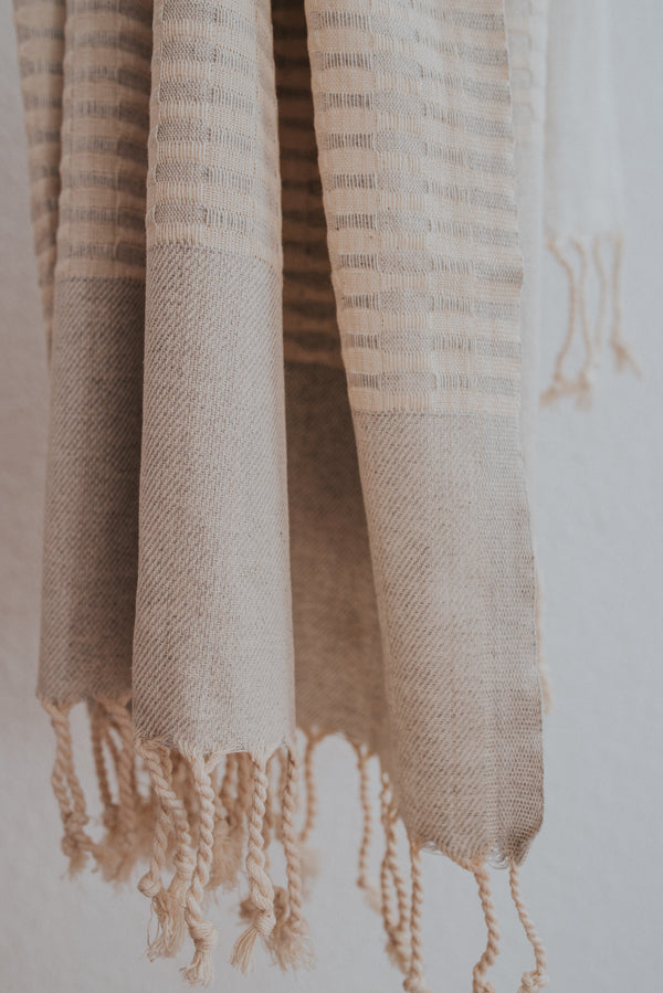 Close up of Bon Ton Studio Mila Turkish Towel in Dove Grey color