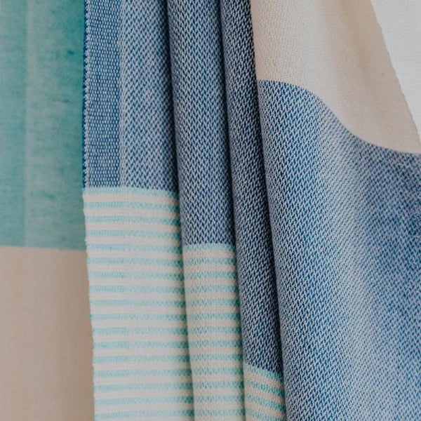 Close up of Bon Ton Studio Flora Turkish Towel in Ocean color