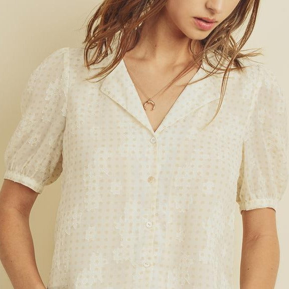 Floral-Jacquard-Button-Down-Bon-Ton-Studio-Summer-Blouse