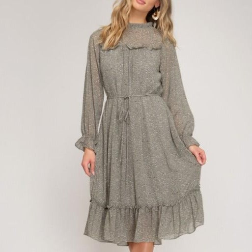 Floral-Long-Sleeve-Midi-Dress-Olive-Grey-Bon-Ton-Studio-