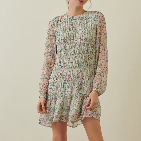 Floral-Mini-Dress-Summer-Spring-Pleated-Ruffle