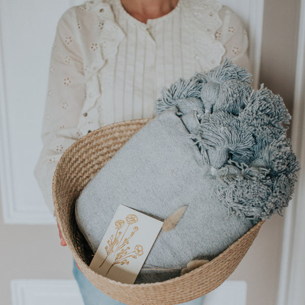 At-Home Bundle | Belly Basket + Pom Pom Blanket