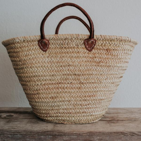 Straw Market Tote | Short Leather Handles