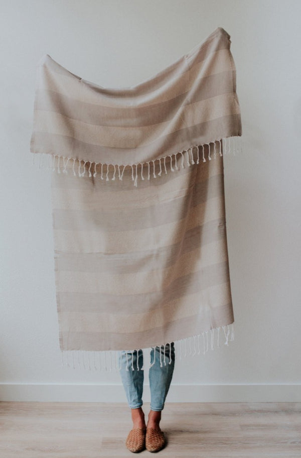 Hugo Towel | Mauve Stripe