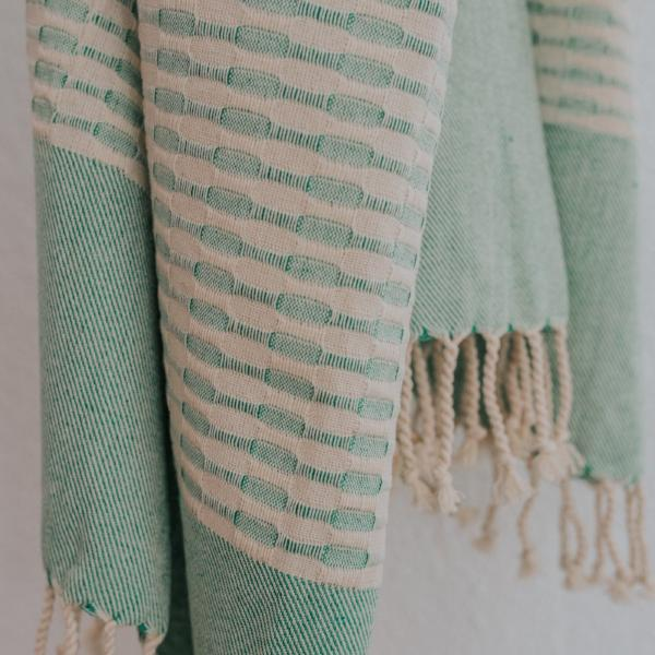 Close up of Bon Ton Studio Mila Turkish Towel in Seafoam color
